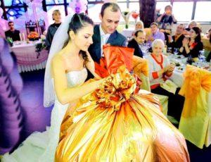 Подарок-мешок на свадьбу