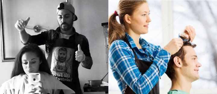 Мужчина и женщина парикмахеры