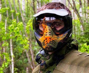 Оранжевая маска для пейнтбола