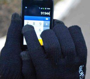 Черные перчатки для сенсорных экранов