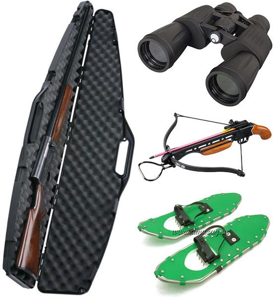 Футляр для оружия, бинокль, арбалет, снегоходы