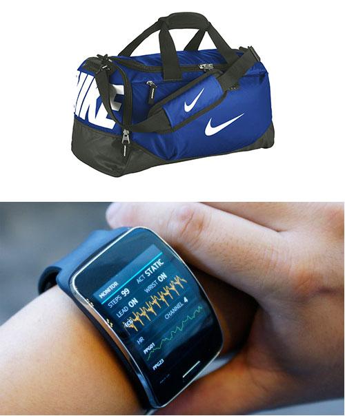 Спортивная сумка и фитнес-браслет
