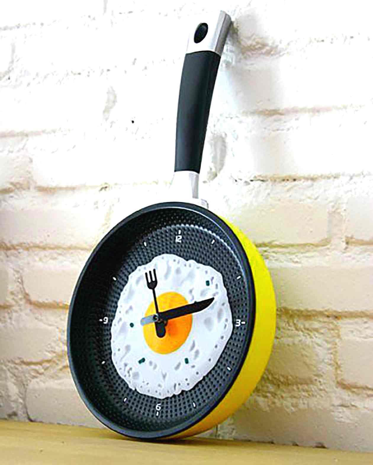 Желтая сковорода-часы