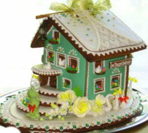 Бирюзового цвета домик для подарка на свадьбу