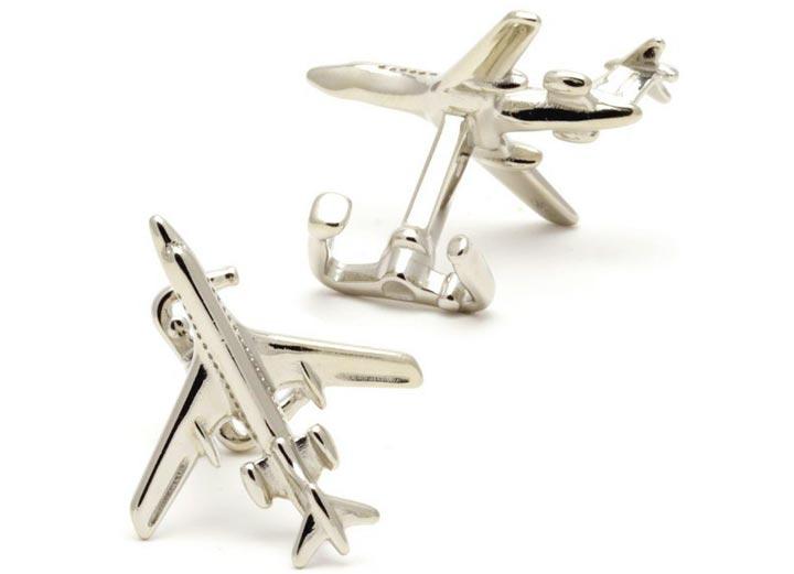 Серебрянные запонки в виде самолета