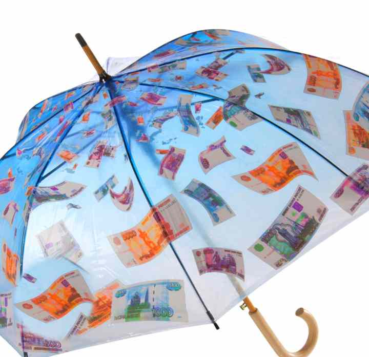 короба поздравления с днем рождения с зонтиком и деньгами выдержан стиле ренессанс