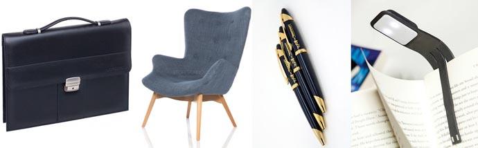 Кожаный портфель, кресло, ручки с гравировкой и накнижная лампа