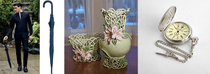Зонт-трость, резные вазы, часы карманные с цепочкой
