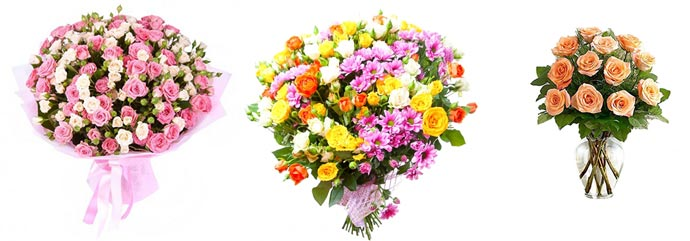 Букеты из кустовых роз и композиции