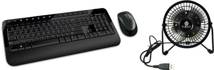 Бесповодные клавиатура и мышь, вентилятор usb