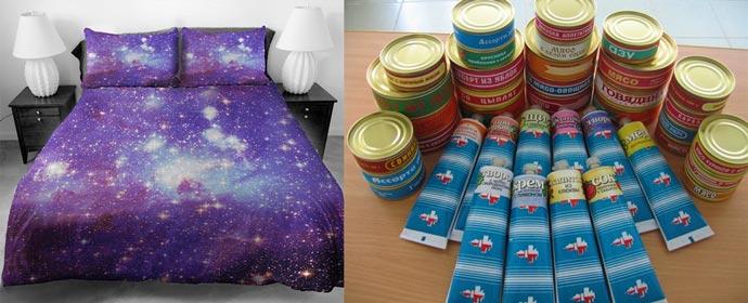 Постельное белье в стиле космос и еда космонавтов консервы