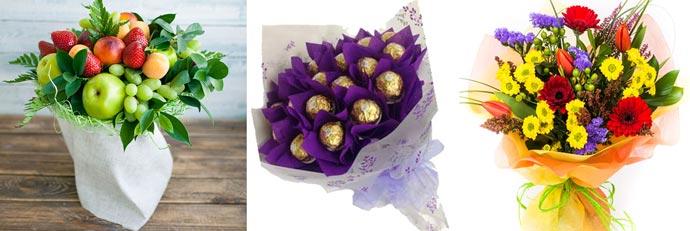 Букет из цветов, конфет и фруктов