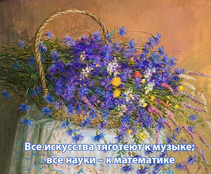 Картина с полевыми цветами и надпись: Все искусства тяготеют к музыке; все науки – к математике