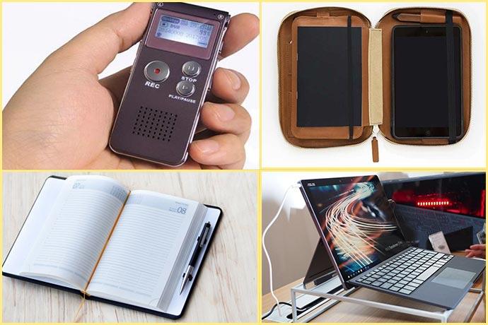 Диктофон, ноутбук, ежедневник, органайзер