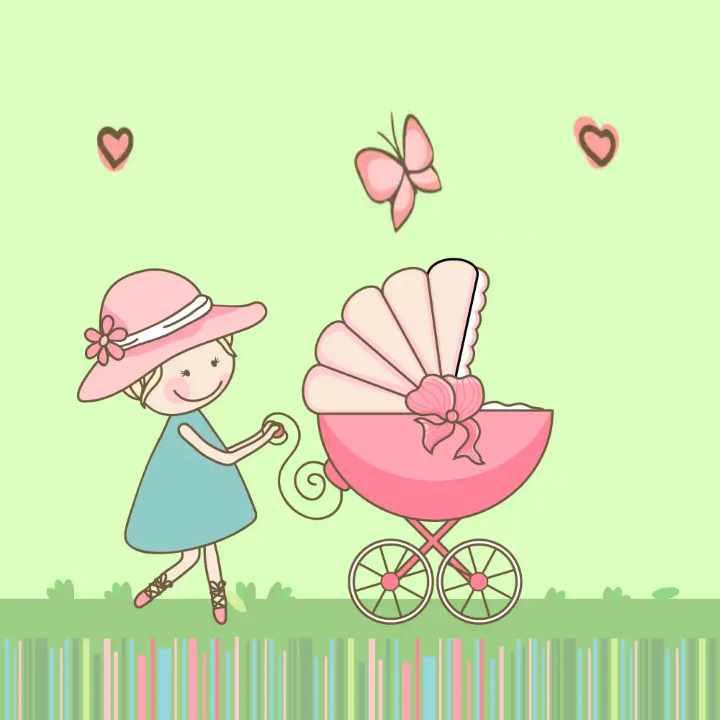 Эльфы днем, открытка родила девочку