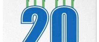 Лаконичная открытка на 20-летие