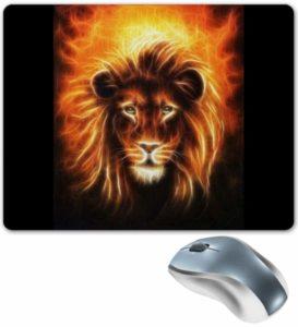 Огненный лев на ковре для мыши