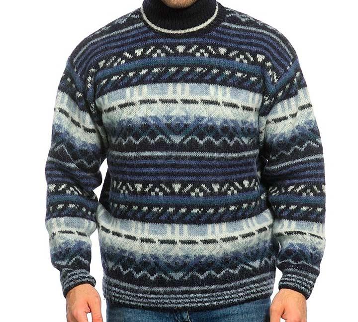 Шерстяной свитер\пуловер с необычными узорами в подарок