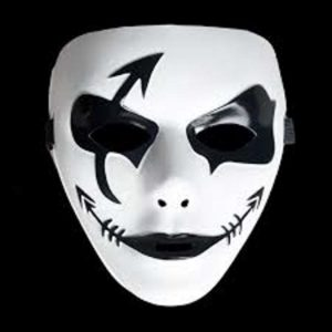Черно-белая маска для праздника Хэллоуин