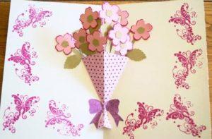 Розовые цветы своими руками