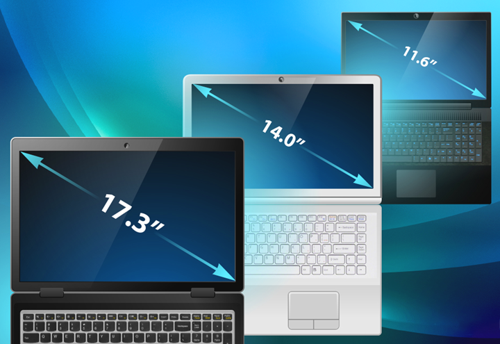 Диагонали мониторов ноутбуков